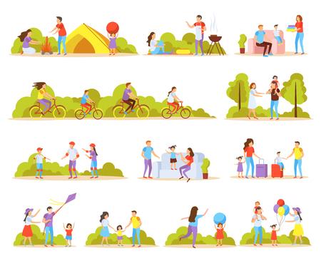 Orthogonale Ikonen der Familienaktivitäten, die mit Haus zusammen im Freien Radfahren des Grillens und der isolierten Vektorillustration der Urlaubsreise eingestellt werden