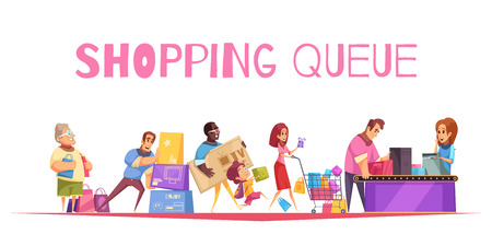 Shopping queue background composition with text and supermarket checkout images human characters of customers with goods vector illustration Illustration