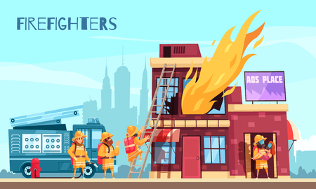 Firefighter horizontal composition with outdoor scenery and flat images of burning urban building and fire brigade vector illustration