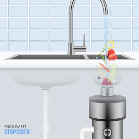 Kitchen sink with slices of vegetables falling with water into food waste disposer realistic vector illustration