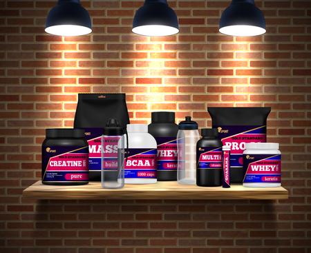 Fitness sport nutrition packages jars and drink bottles realistic composition on shelf brick wall background vector illustration Ilustração Vetorial