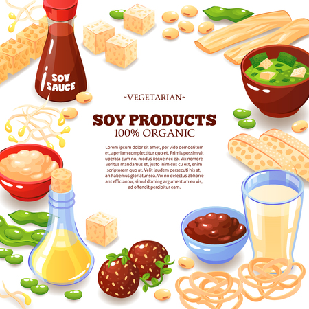 Colored background with decorative frame composed of soy products  and inside text information about vegetarian food  cartoon vector illustration