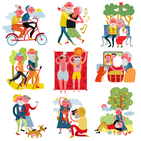 Elderly people healthy active lifestyle 9 cartoon compositions with couples walking dog dancing biking isolated vector illustration