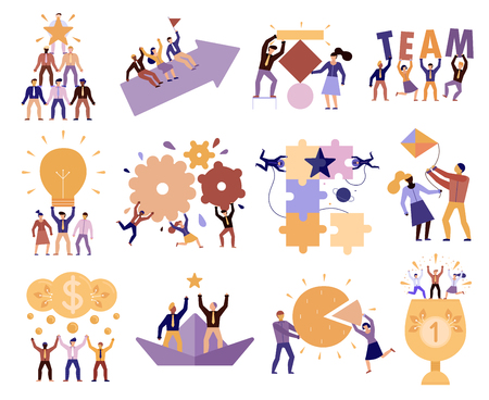Effective teamwork in workplace 12 cartoon compositions of successful team members cooperation trust goals commitment vector illustration Illustration