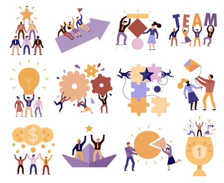 Trabajo en equipo efectivo en el lugar de trabajo 12 composiciones de dibujos animados de miembros del equipo exitosos cooperación confianza objetivos compromiso ilustración vectorial