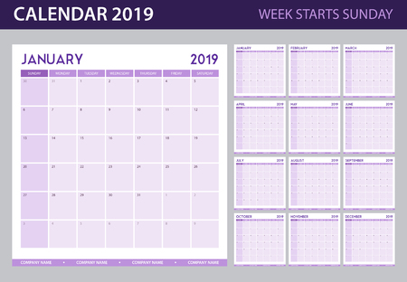 Calendar planner for 2019 year in minimal simple table style and week starts sunday headline flat vector illustration