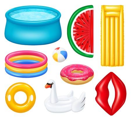Zestaw realistycznych nadmuchiwanych basenów z kolorowymi akcesoriami do pływania na białym tle ilustracji wektorowych