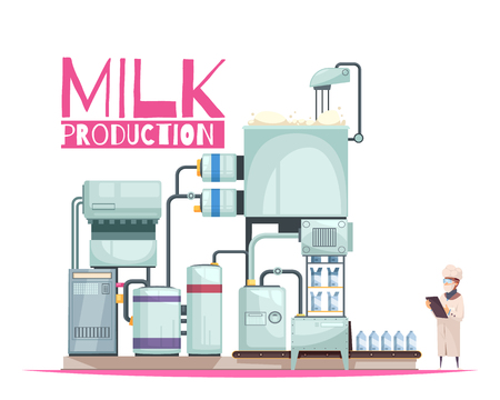 Milk production composition with ornate text and flat image of milk factory facilities with human character vector illustration 일러스트