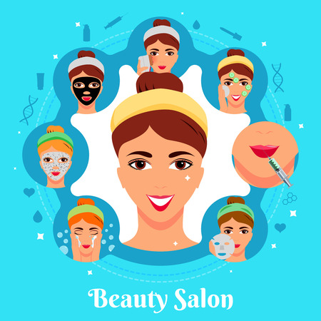 Cosmetic procedures of beauty salon for woman face care flat round composition on blue background vector illustration  イラスト・ベクター素材