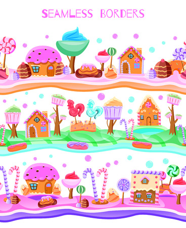 Fairy tale candy land with lollipops trees from cupcakes sweet houses flat seamless border vector illustration 免版税图像 - 109983035
