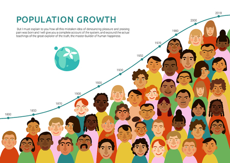 International human faces infographics with chart of earth population growth flat vector illustration