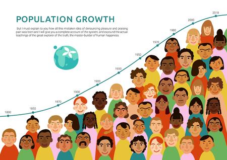Internationale Infografiken der menschlichen Gesichter mit Diagramm der flachen Vektorillustration des Erdbevölkerungswachstums Vektorgrafik