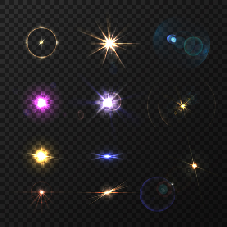Lens flares and twinkle realistic colored set isolated vector illustration