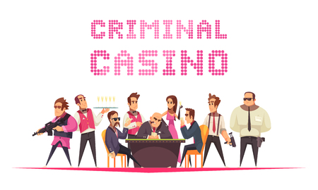 Crime casino background with text and cartoon style human characters with members of mob mafia gang vector illustration