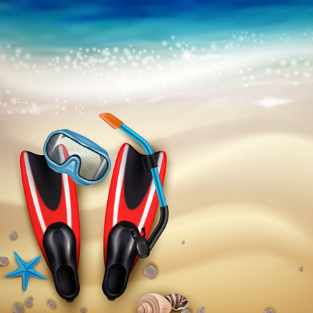 Diving accessories on tropical beach sand realistic top view with flippers snorkel mask marine creatures vector illustration