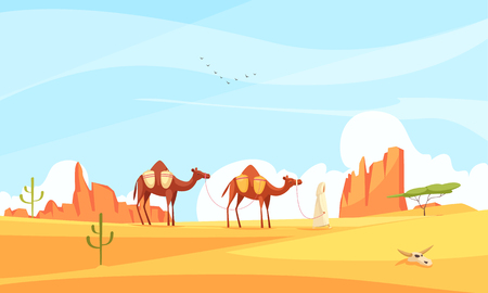 Desert camel composition with wasteland landscape and flat images with train of camels crossing deserted place vector illustration