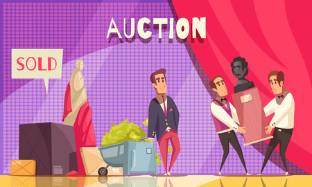 Auction horizontal composition with luxury stage and flat doodle human characters of people and rare items vector illustration