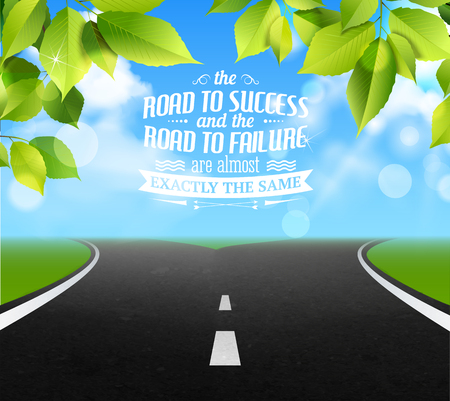 Road of life quotes with failure and success symbols realistic vector illustration