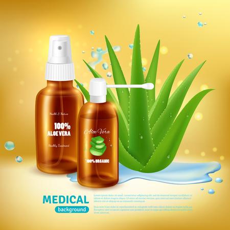 Antecedentes médicos de aloe vera con embalaje para tubo de spray médico y nebulizador con ilustración de vector de planta de aloe realista