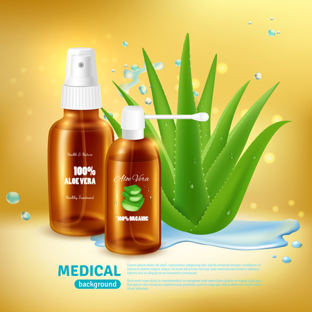 Aloe vera medical background with packaging for medical spray tube and nebulizer with realistic aloe plant vector illustration Illustration