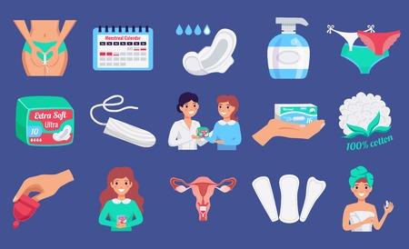 Weibliche Hygieneprodukte flache horizontale Einstellung mit Tampon Menstruationstassen Waschkissen Slipeinlagen isoliert Vektor-Illustration Vektorgrafik
