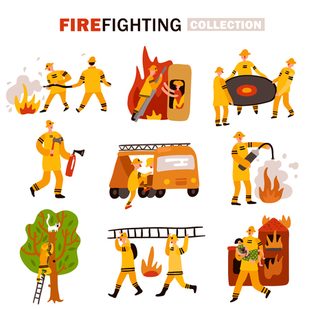 Set of flat icons rescue service during fire fighting and removing cat from tree isolated vector illustration Illustration