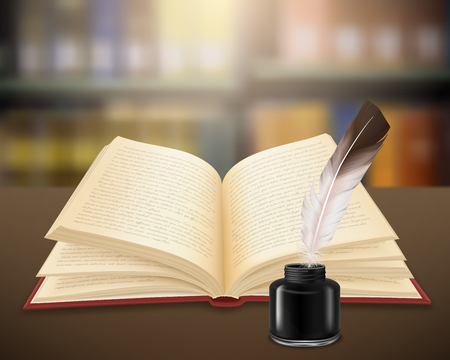 Hand written literary work on pages of open book with feather and inkwell realistic vector illustration