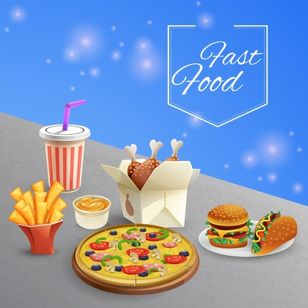 Plates with various fast food sauce and drink on grey table cartoon vector illustration