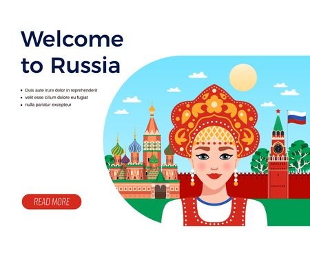 Welcome to Russia flat composition travel agency advertising design with girl in sarafan and kokoshnik vector illustration Illustration