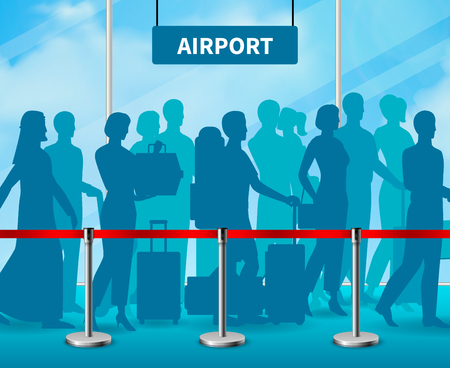 Colored temporary fencing barrier people airport composition in blue style and with crowd of people at the airport vector illustration