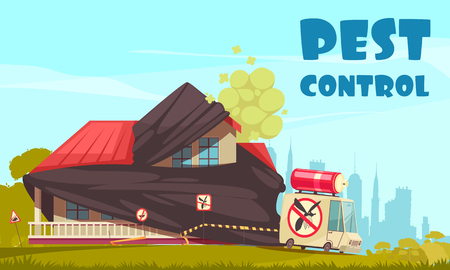 Pest control outside illustration with view of house under disinfection procedures with disinfectors crew car and text vector illustration Stok Fotoğraf - 108292435
