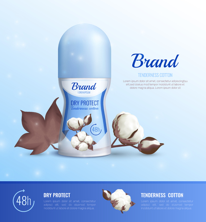 Deodorant bottles realistic poster of different shapes with advertising of 48 hour dry protect and tenderness cotton realistic vector illustration