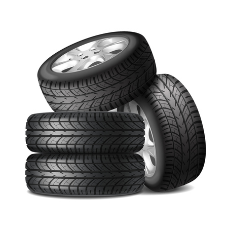 Juego completo de ruedas de automóvil con llantas de aleación y neumáticos nuevos, ilustración de vector de composición realista