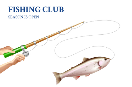 Fishing of rainbow trout on rod with spinning reel on white background realistic vector illustration