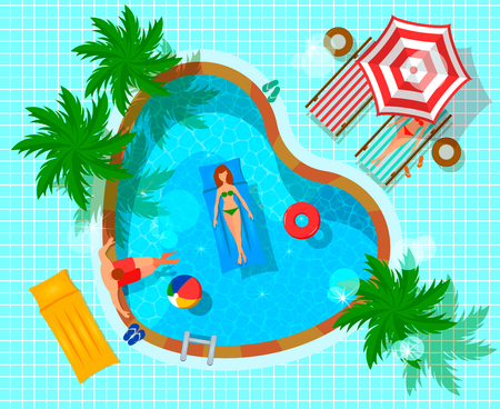 Swimming pool top view with human characters during leisure flat composition on tiled blue background vector illustration