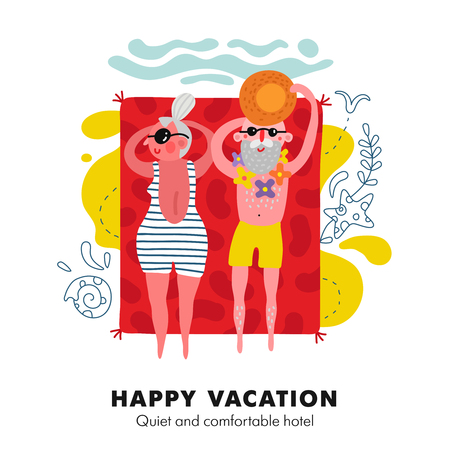 Elderly couple seaside sunbathing on bright red beach towel colorful cartoon vacation accommodation advertisement poster vector illustration