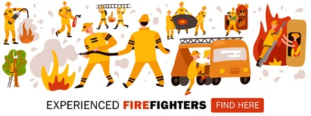 Experienced fire fighters during dangerous work header for web site horizontal flat vector illustration