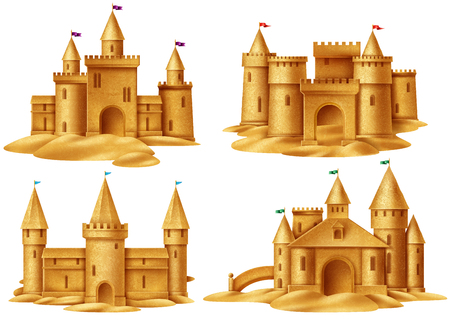 Beach sand castle 2x2 design concept set for childrens summer games on sea coast realistic vector illustration