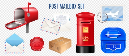 Set of realistic postage elements mail boxes letter and parcel isolated on transparent background vector illustration Illustration