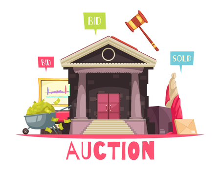 Auction composition with text and vintage style building with flat pictogram images and text auction actions vector illustration
