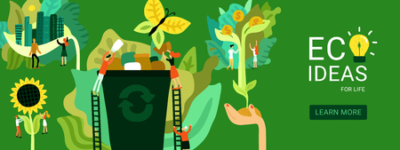 Ecologische restauratie header eco-ideeën voor herstel van het milieu op groene achtergrond platte vectorillustratie Vector Illustratie