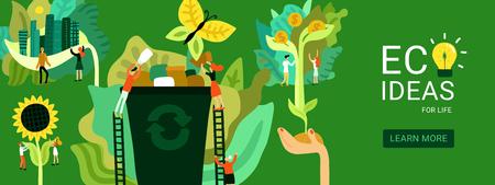 Ekologiczne pomysły na przywrócenie nagłówka ekologiczne na przywracanie środowiska na zielonym tle ilustracji wektorowych płaski Ilustracje wektorowe