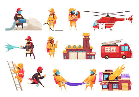 Feuerwehr Feuerwehrmann Set mit flachen isolierten Bildern von Feuerlöschausrüstung Fahrzeuge und menschliche Zeichen Vektor-Illustration