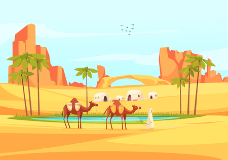 Desert outdoor composition of deserted place landscape with flat images of sandy canyons and train of camels vector illustration Illustration