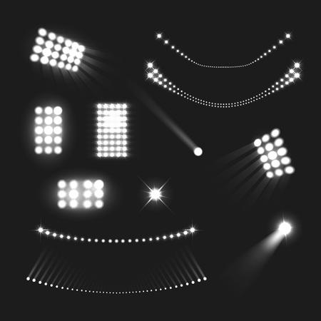 Stadium lights realistic black white set isolated vector illustration