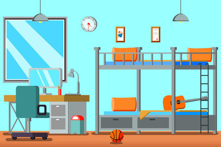 Teen room for boy flat composition with bunk bed desk with computer pictures on wall vector illustration