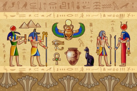 Egypt horizontal vector illustration with ancient egyptian deities and border pattern composed of occult symbols