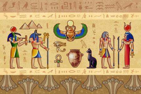 Ilustración de vector horizontal de Egipto con deidades egipcias antiguas y patrón de borde compuesto por símbolos ocultos