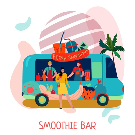 Smoothies bar concept with fruit drinks symbols flat vector illustration