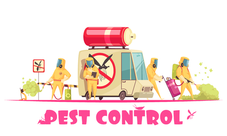 Pest control composition with text and human characters of disinfector crew members in chemical suites with car vector illustration